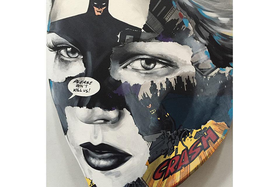 ساندرا شرویه، رنگ آکریلیک روی پانل چوبی حکاکی شده با دست به ابعاد 40*29 سانتیمتر