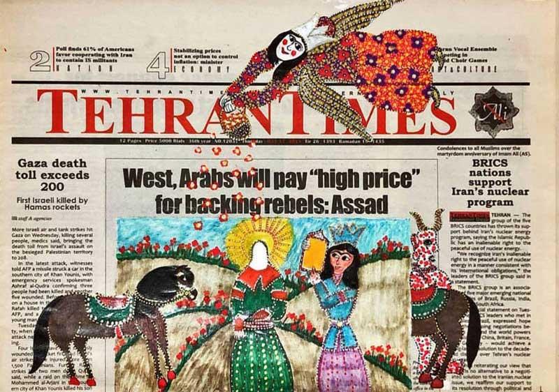 یزدان سعدی (پرده خوانی بر روزنامه تهران تایمز) در گالری سیحون