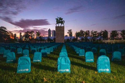 چیدمان ۳۷۵۸ کولهپشتی در حیاط سازمان ملل
