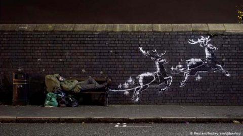 دیوارنگاره تازه بنکسی در آستانه کریسمس