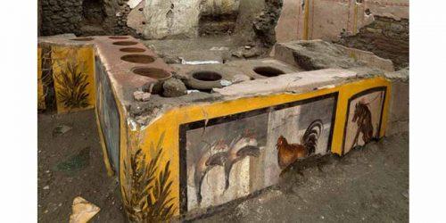 خوراک فروشی خیابانی تازه یافت شده در شهر تاریخی پمپئی مربوط به روم باستان